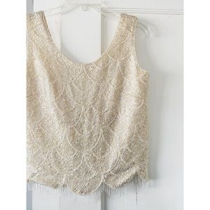 Vintage Sequin Beaded Scalloped Tank Top